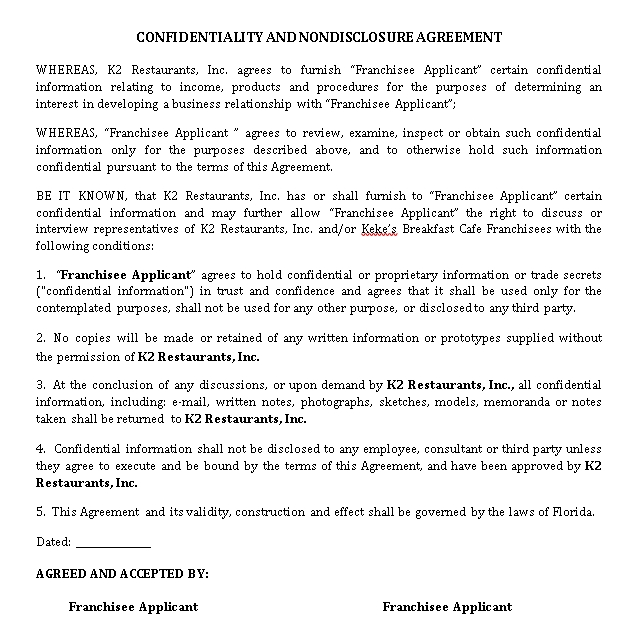 Breakfast Cafe Restaurant Non Disclosure Agreement Template