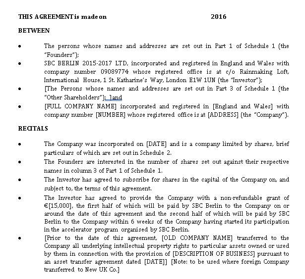 Busines Investment Agreement Template