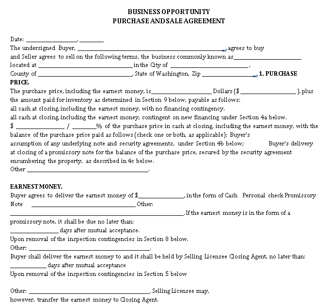 Business Opportunity Purchase Sale Agreement