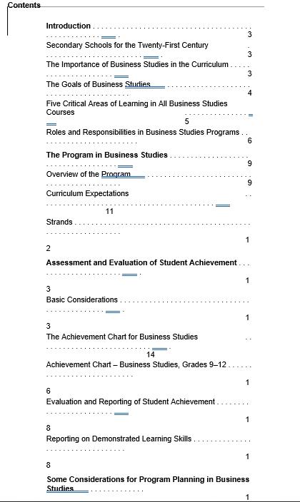 Business Studies Work Schedule