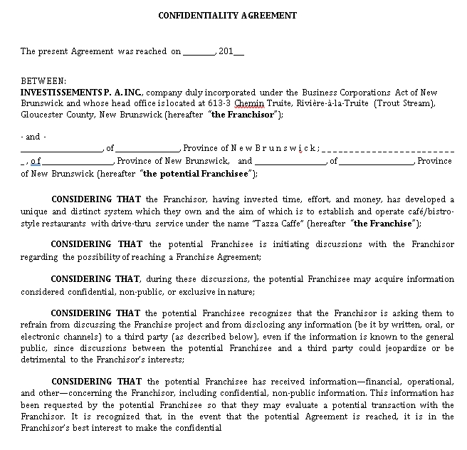 Cafe Restaurant Non Disclosure Agreement Template