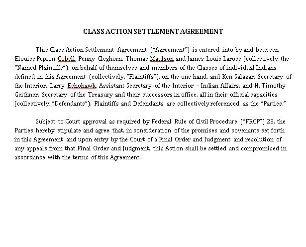 Calss Action Settlement Agreement Template