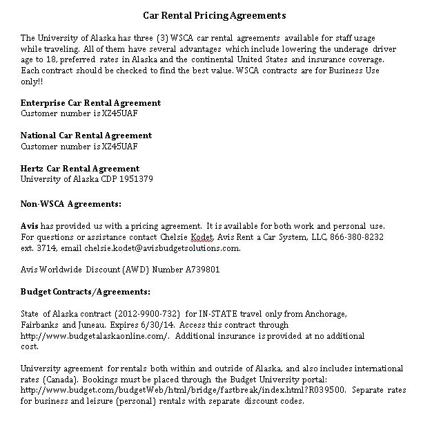 Car Rental Pricing Agreements