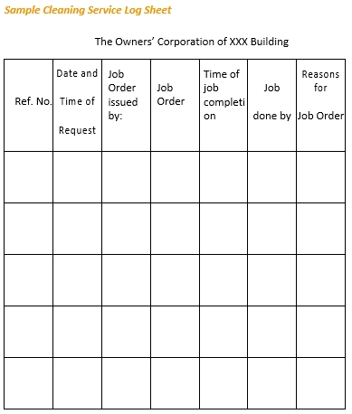 Cleaning Service Log Sheet