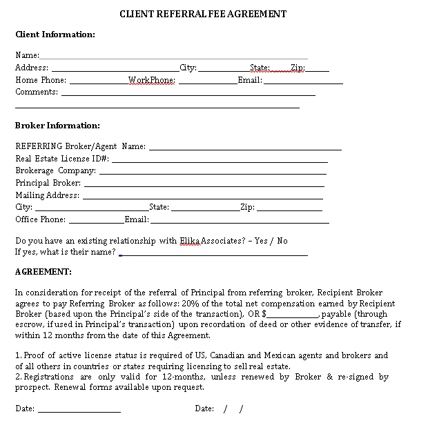 Client Referral Agreement Template