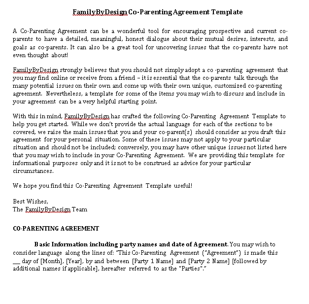 Co Parenting Agreement Template