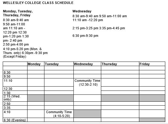 College Class Schedule