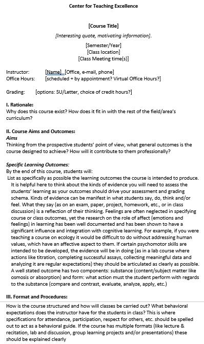 College Class Syllabus Schedule