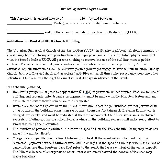Commercial Building Rent Agreement