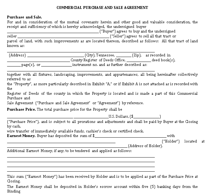 Commercial Purchase and Sale Agreement