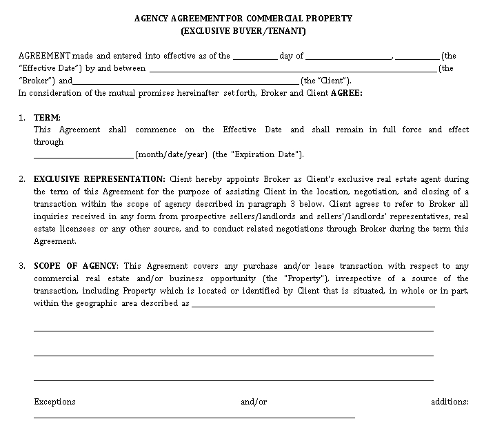 Commercial Real Estate Agent Agreement
