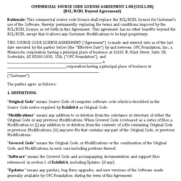 Commercial Source Code Agreement Ecample