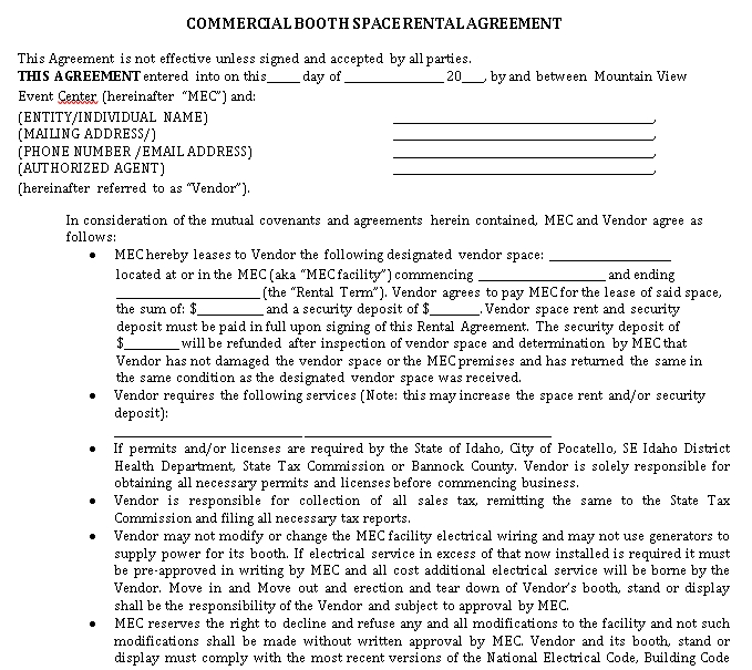 Commercial Space Rent Agreement