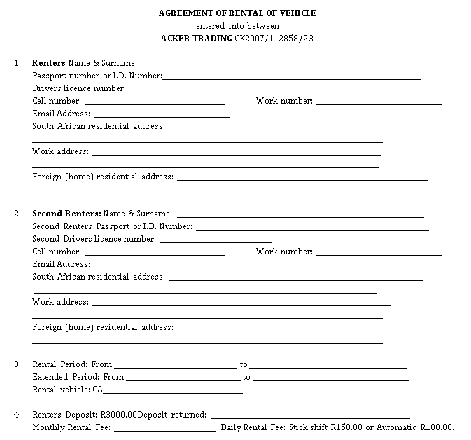 Commercial Vehicle Rent Agreement