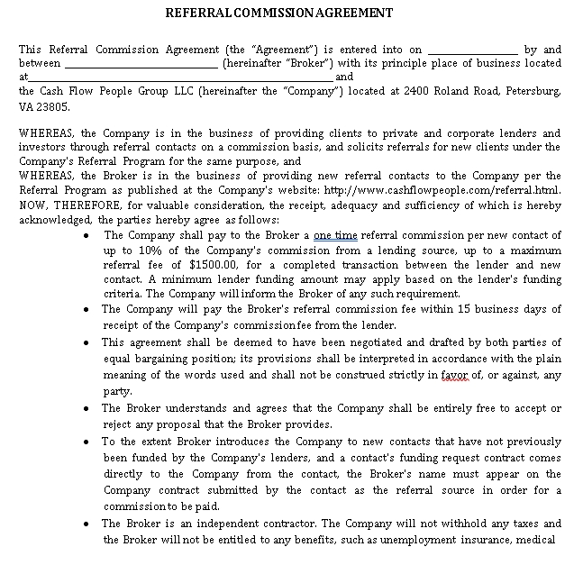 Commission Referral Agreement Template