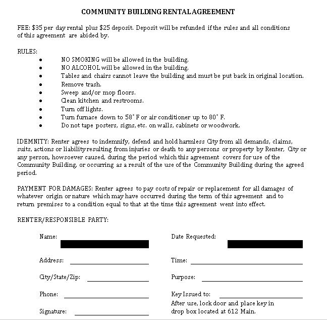 Community Building Rent Agreement