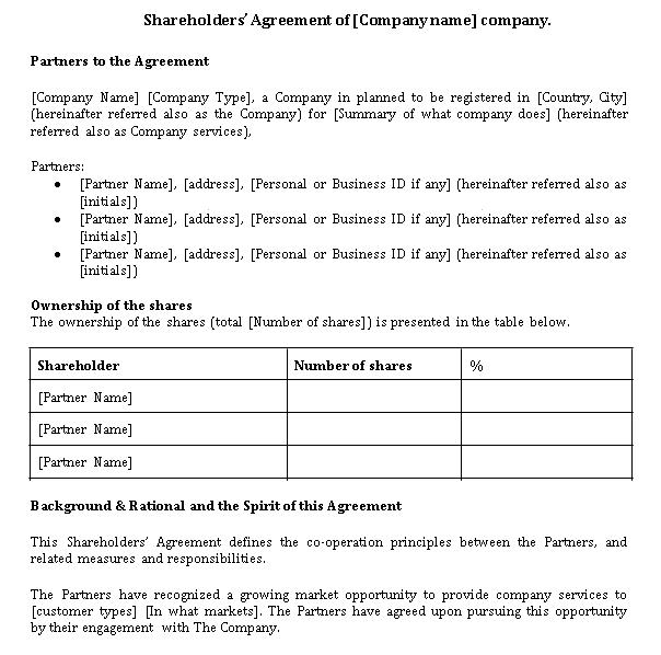 Companys Shareholder Agreement Template