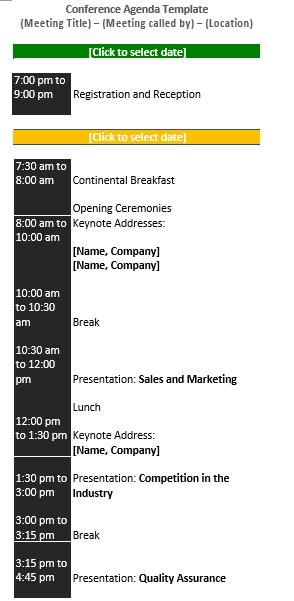 Conference Schedule Presentation Sample