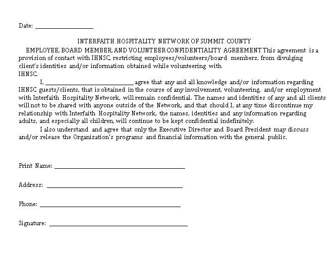 Confidentiality Agreement for Volunteers and Employees