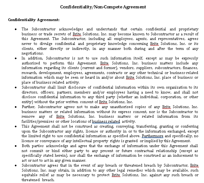 Confidentiality Non Compete Agreement