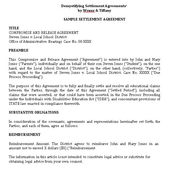 Confidentiality Settlement Agreement Sample Template