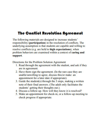 Conflict Resolution Agreement Example