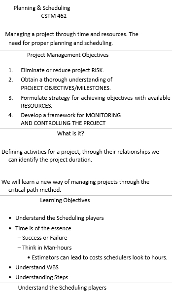 Construction Project Planing and Scheduling