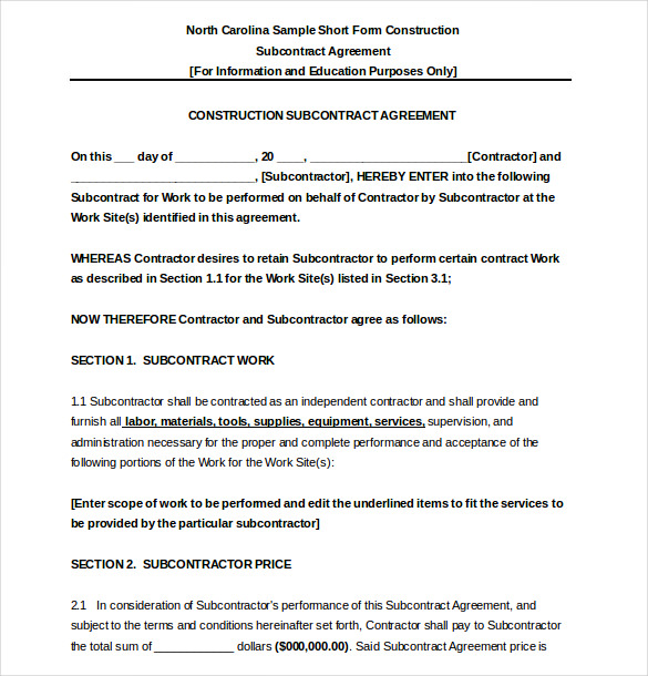 Construction Subcontractor Agreement