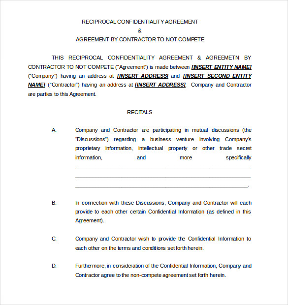 Contractor Non Compete Agreement Word Format