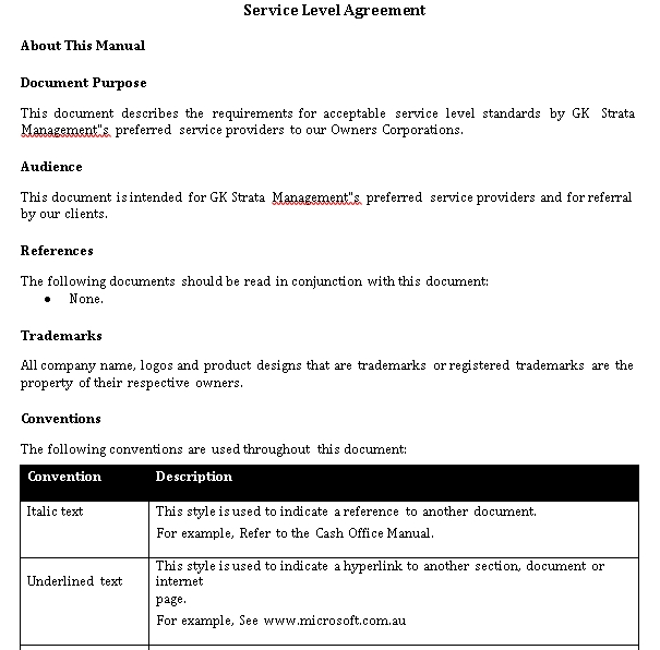 Contractor Service Level Agreement Template