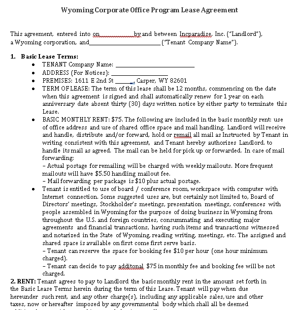 Corporate Office Program Lease Agreement