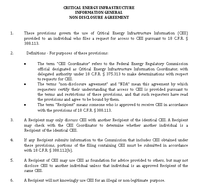 Critical Energy Infrastructure General Non Disclosure Agreement