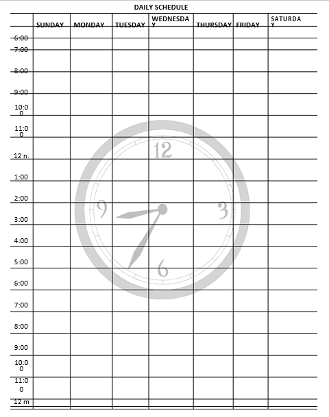 Daily Schedule Format Download