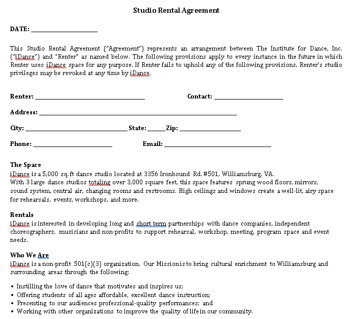 Dance Institute Studio Rental Agreement