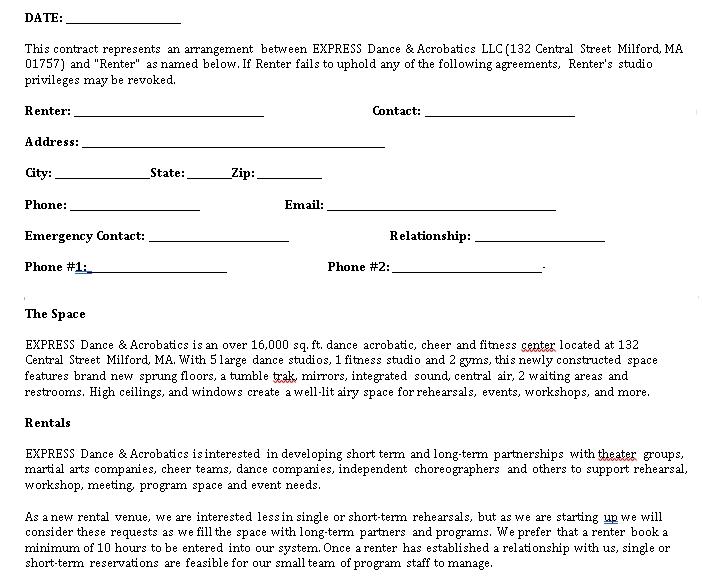Dance Studio Rental Agreement Example