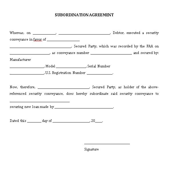 Debtor Subordination Agreement