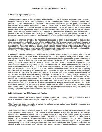 Dispute Resolution Agreement Template