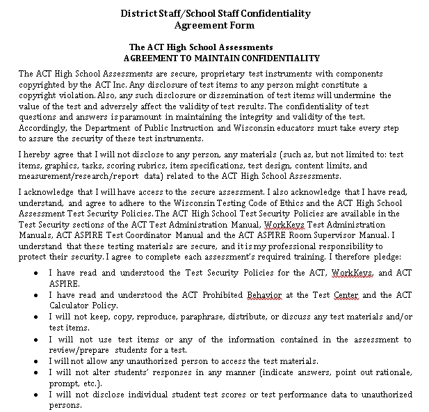 District School staff confidentiality Agreement form