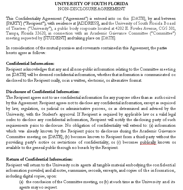 Draft Meeting Confidentiality Agreement