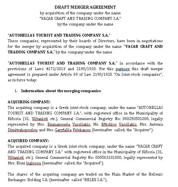 Draft Merger Agreement