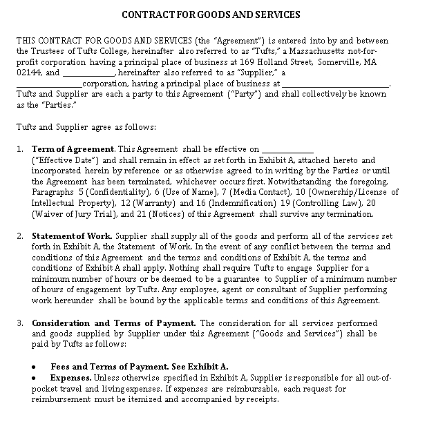 Draft for Contract of Goods and Services