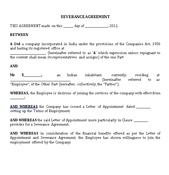 Draft of a Severance Agreement