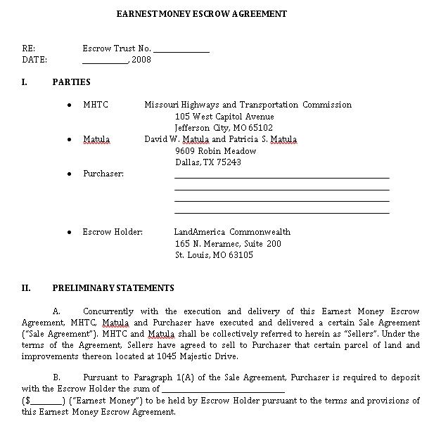 Earnest Money Agreement Template