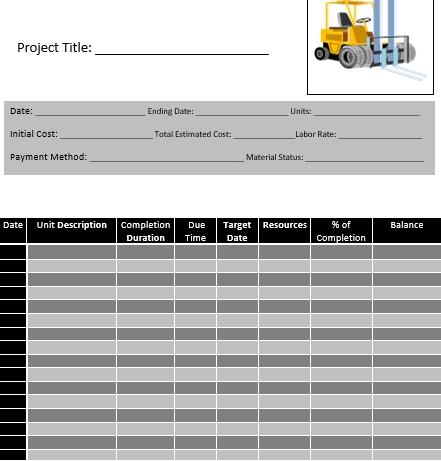 Editable Construction Activity Schedule Word Doc
