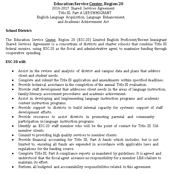 Education Shared Services Agreement