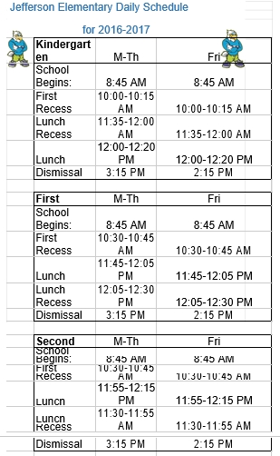 Elementary Daily Schedule