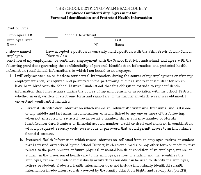Employee Confidentiality Agreement for Personal Identification