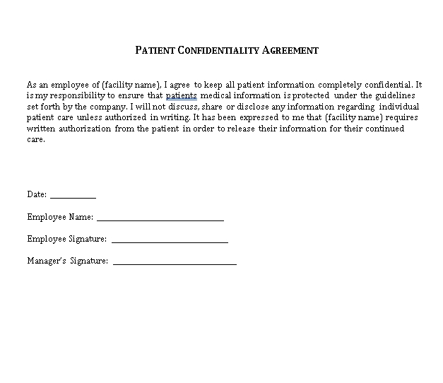 Employee Patient Confidentiality Agreement Form