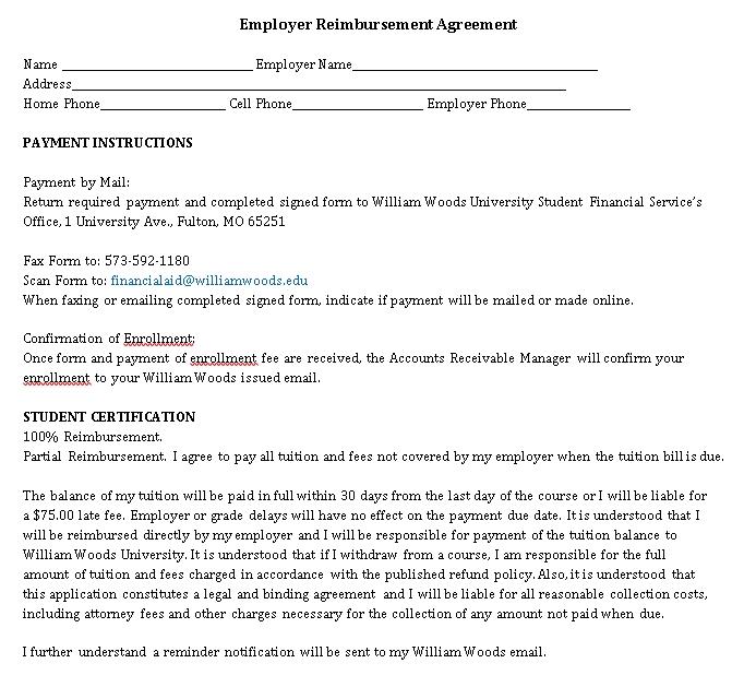 Employer Reimbursement Agreement Template