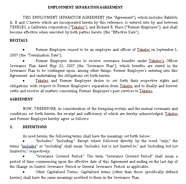 Employment Separation Agreement in PDF